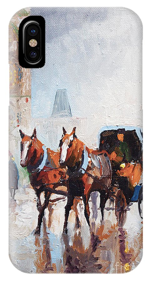 Prague IPhone X Case featuring the painting Prague Old Town Square by Yuriy Shevchuk