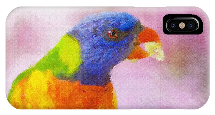 Rainbow Lorikeet IPhone X Case featuring the photograph Rainbow Lorikeet by Sheila Smart Fine Art Photography
