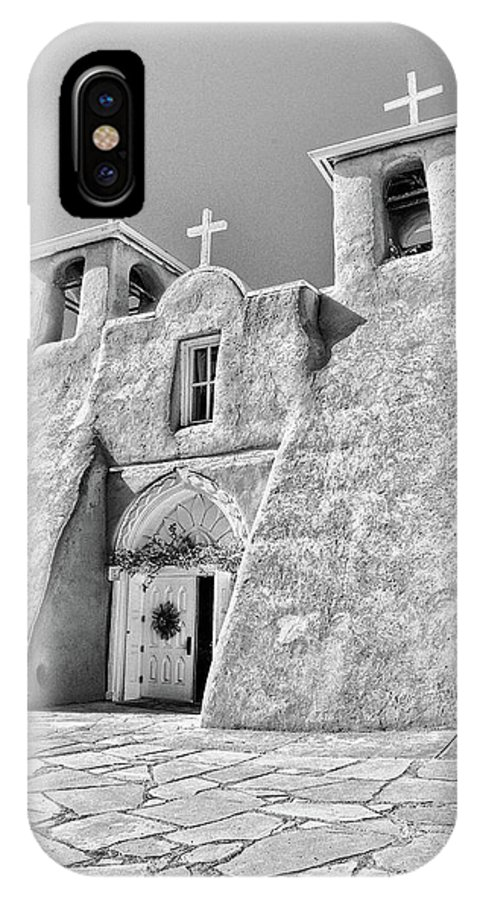 Ranchos IPhone X Case featuring the photograph Ranchos De Taos Church In Black And White by Charles Muhle