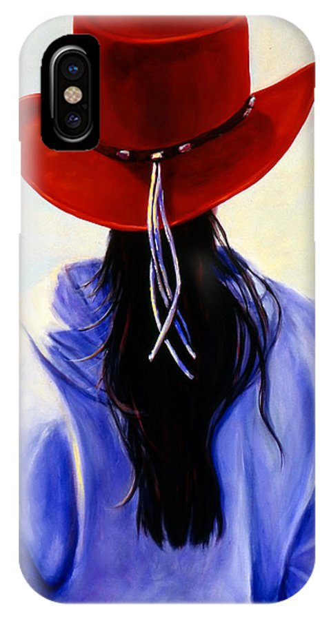 Red IPhone X Case featuring the painting Red Ahead by Shannon Grissom