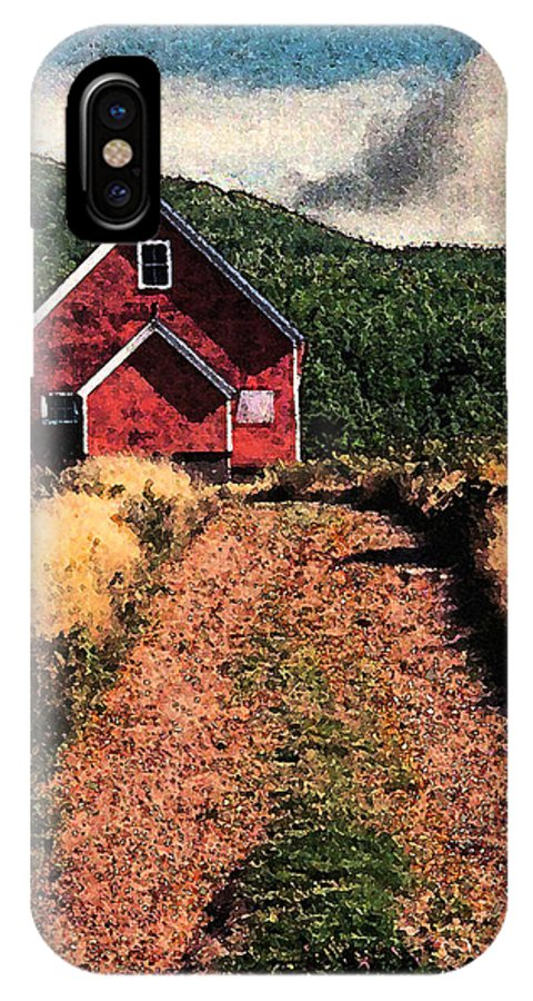 Red Barn IPhone X / XS Case featuring the photograph Red Barn Road by Ed A Gage
