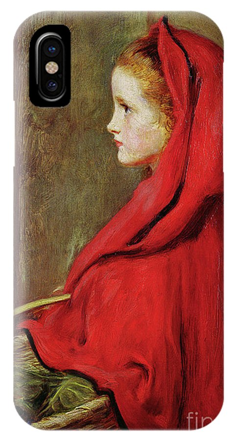 Millais IPhone X Case featuring the painting Red Riding Hood by John Everett Millais