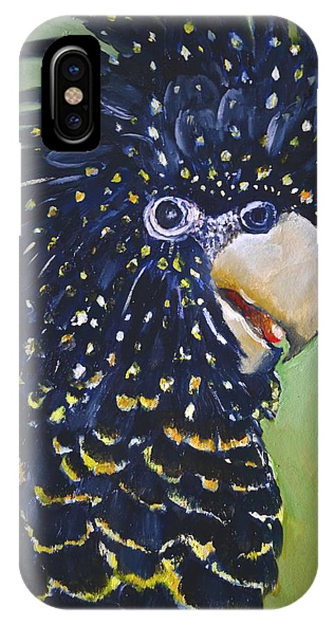 Australian Red Tail Black Cockatoo Nature IPhone X Case featuring the painting Red Tailed Black Cockatoo by Cynthia Farr