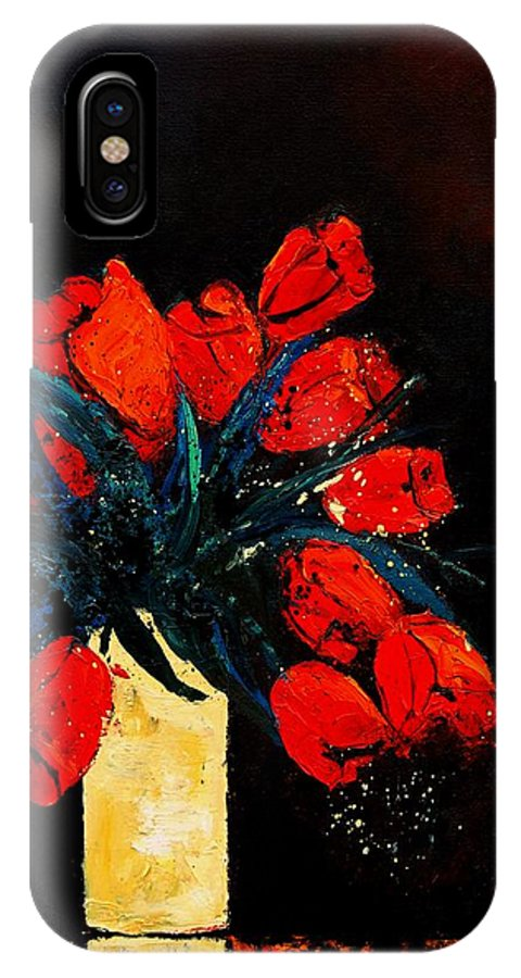 Flowers IPhone Case featuring the painting Red Tulips by Pol Ledent
