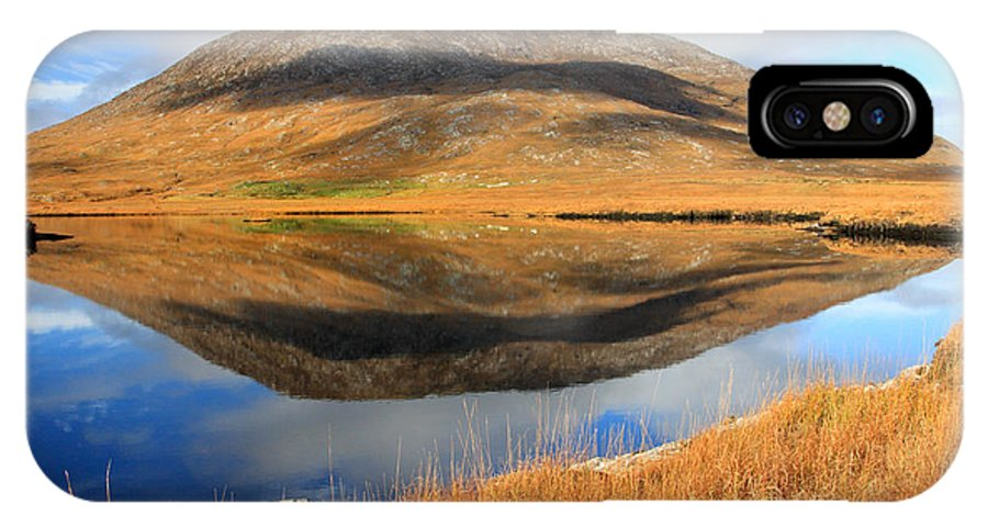 Connemara IPhone X Case featuring the photograph Reflection Of The Connemara Mountains In A Blue Lake Ireland by Pierre Leclerc Photography