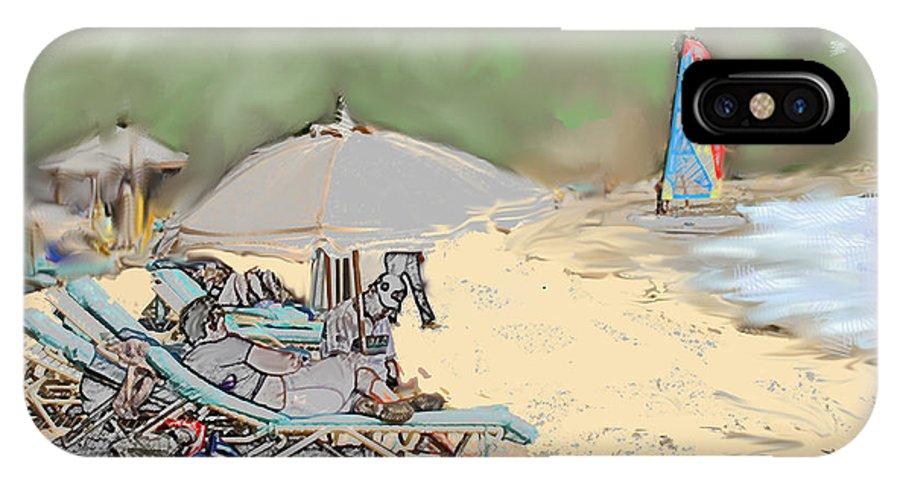 Beach. Toursts IPhone X Case featuring the digital art Reggae Beach by Ian MacDonald