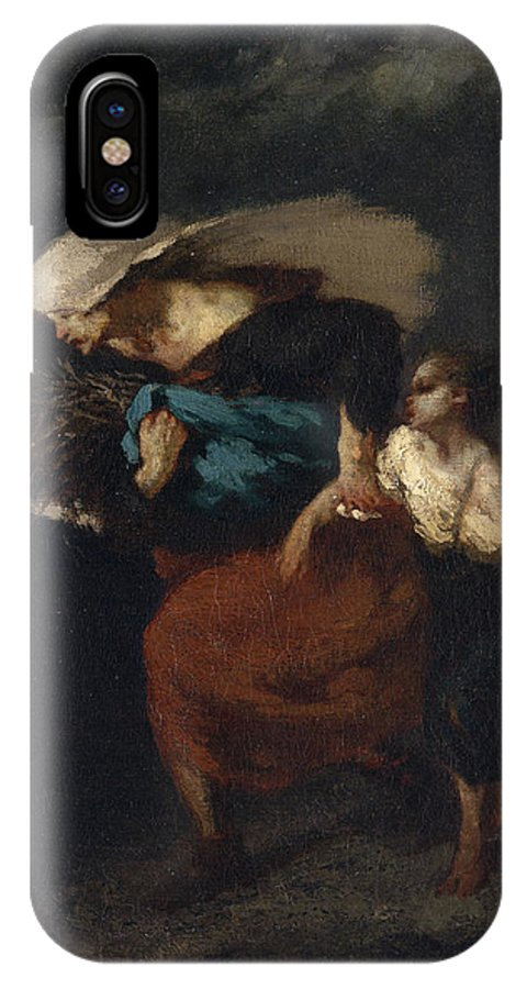 Barbizon School IPhone X Case featuring the painting Retreat From The Storm by Jean-Francois Millet
