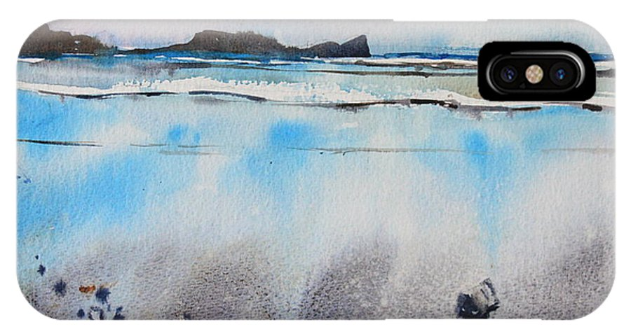 Rhossili Bay IPhone X Case featuring the painting Rhossili Bay, Wales by Ibolya Taligas