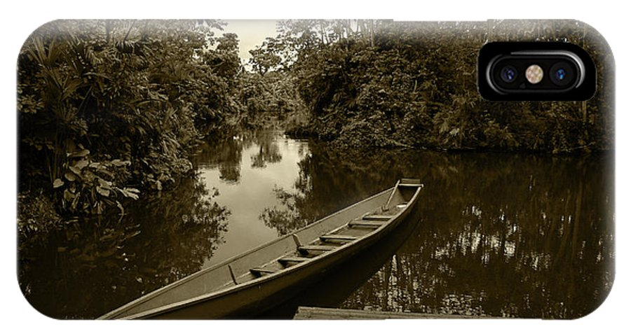 Boat IPhone X Case featuring the photograph River Boat Filled With Water by Robert Hamm