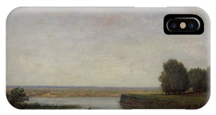 Barbizon School IPhone X Case featuring the painting River Scene by Theodore Rousseau