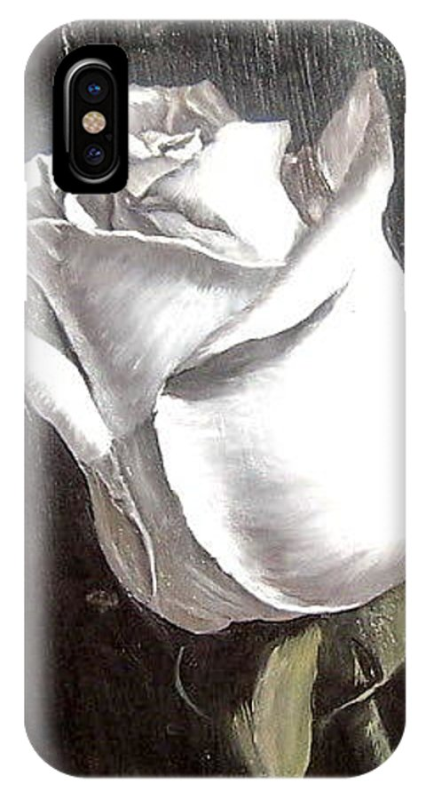 Flower Rose Still Life IPhone X Case featuring the painting Rose 2 by Natalia Tejera
