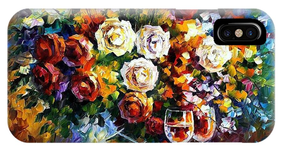 Afremov IPhone X Case featuring the painting Roses And Wine by Leonid Afremov
