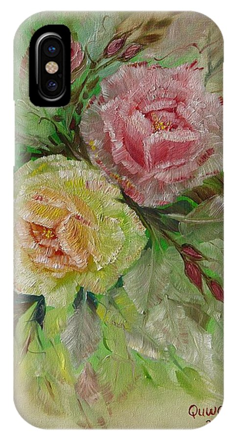 Roses IPhone X Case featuring the painting Roses by Quwatha Valentine