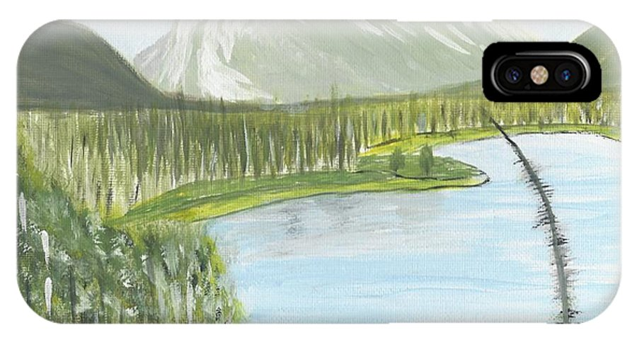 Acrylic IPhone X Case featuring the painting Rundle From Banff by Nicki Bennett