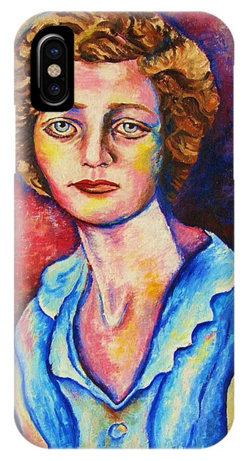 Portraits IPhone X Case featuring the painting Sad Eyes by Carole Spandau