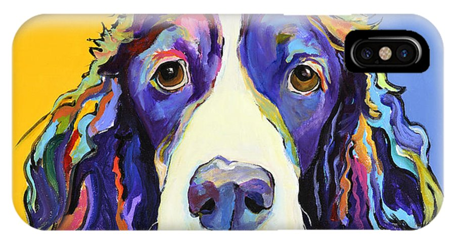 Blue IPhone X Case featuring the painting Sadie by Pat Saunders-White
