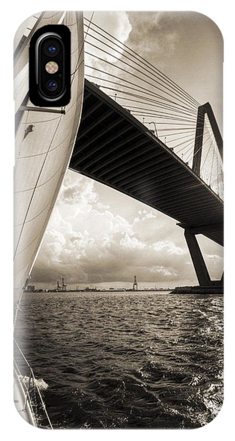 Sailing On The Charleston Harbor Beneteau Sailboat IPhone X Case featuring the photograph Sailing On The Charleston Harbor Beneteau Sailboat by Dustin K Ryan