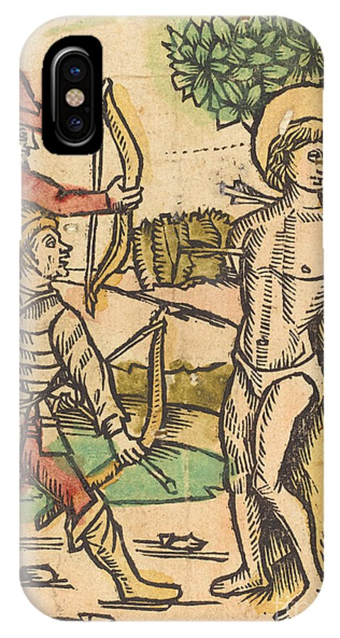 IPhone X Case featuring the drawing Saint Sebastian by German 15th Century