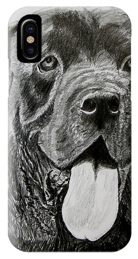 Dog Portrait IPhone X Case featuring the drawing Sampson by Stan Hamilton