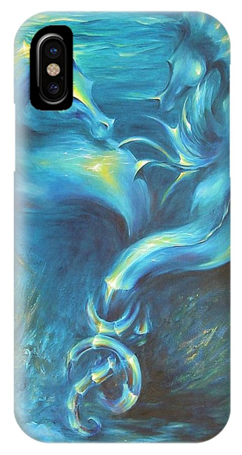 Seahorse Couple Love Ocean Underwater Sea Beach Aquatic IPhone X Case featuring the painting Seahorses In Love 3 by Dina Dargo