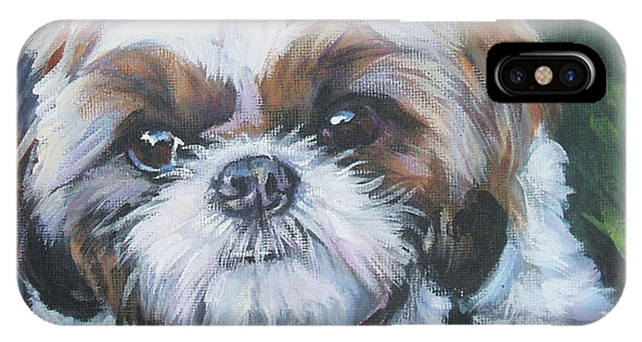 Shih Tzu IPhone X Case featuring the painting Shih Tzu by Lee Ann Shepard