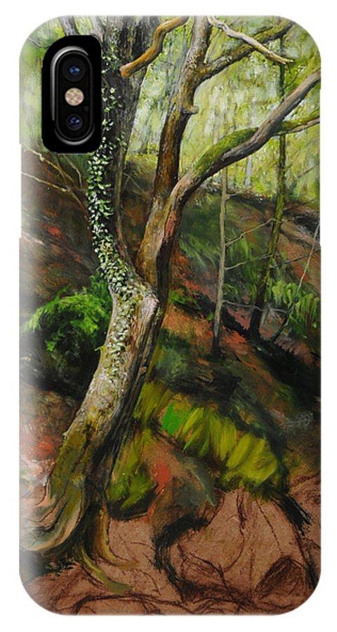 Landscape IPhone X Case featuring the painting Sketch Of A Treetrunk by Harry Robertson