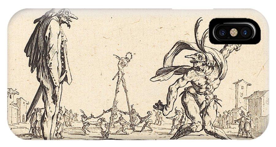 IPhone X Case featuring the drawing Smaralo Cornuto And Ratsa Di Boio by Jacques Callot