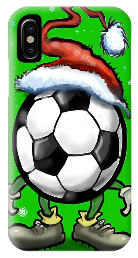 Soccer IPhone X Case featuring the greeting card Soccer Christmas by Kevin Middleton