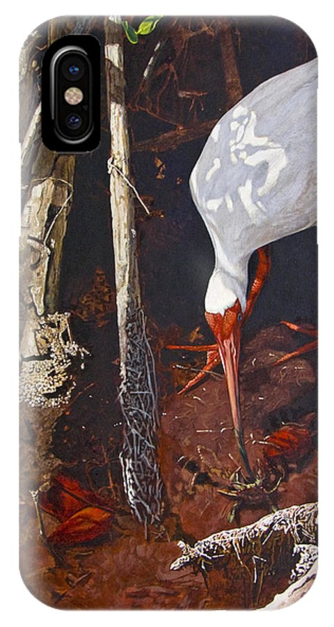 Waterfowl IPhone X Case featuring the painting Sparring For Lunch by Peter Muzyka