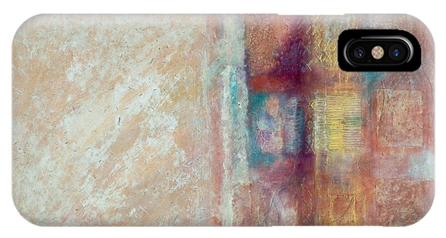 Mixed-media IPhone X Case featuring the painting Spirit Matter Cosmos by Kerryn Madsen-Pietsch