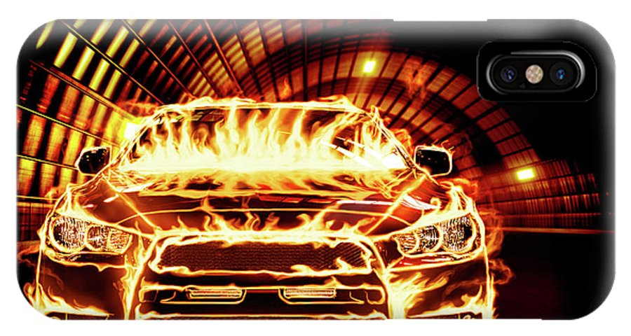 Car IPhone X Case featuring the photograph Sports Car In Flames by Oleksiy Maksymenko
