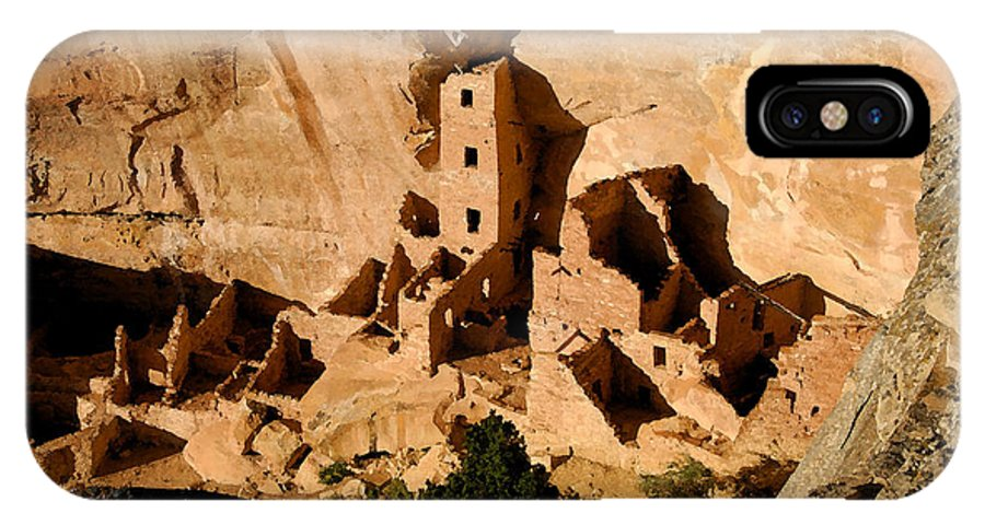 Square Tower Ruin IPhone X Case featuring the painting Square Tower Ruin by David Lee Thompson