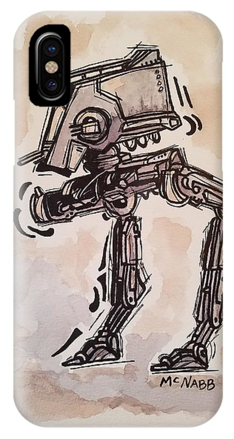 Star IPhone X Case featuring the painting Star Wars At-st by Johnny McNabb