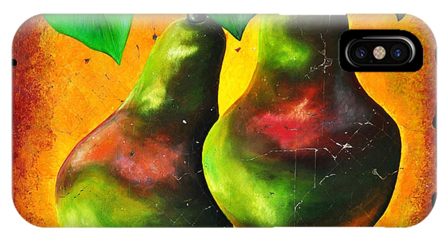 Study Of Two Pears IPhone X Case featuring the painting Study Of Two Pears by Lena Owens OLena Art