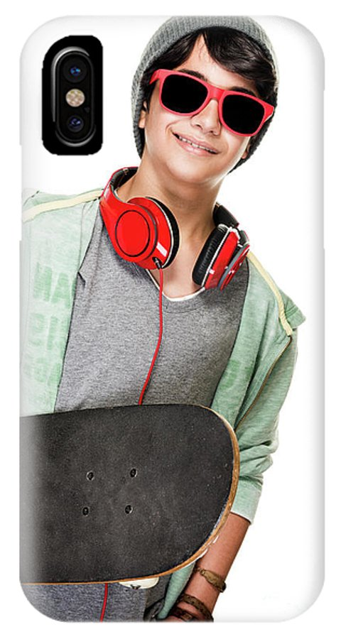 Active IPhone X Case featuring the photograph Stylish Boy With Skateboard by Anna Om