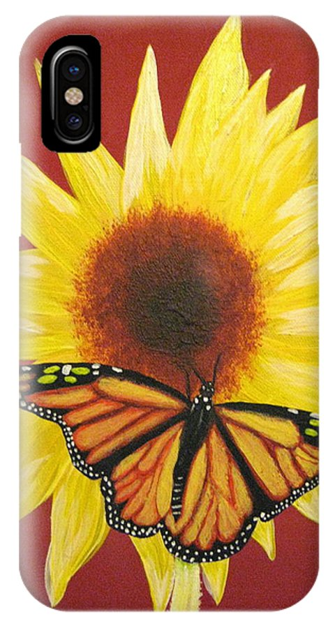 Sunflower IPhone X Case featuring the painting Sunflower Monarch by Debbie Levene