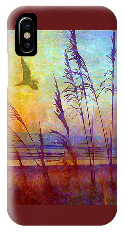 Sea Oats IPhone X Case featuring the photograph Sunrise Flight by Mary Lewis