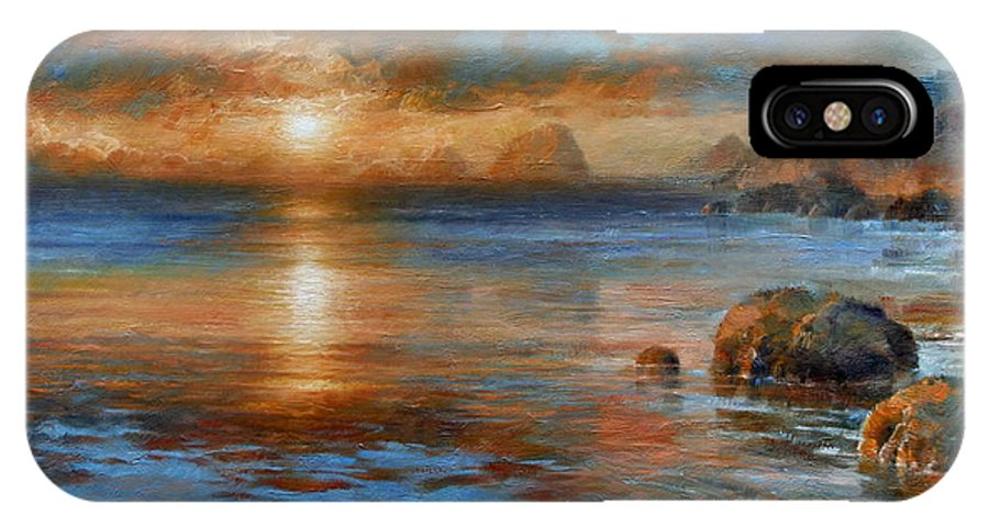 Landscape IPhone X Case featuring the painting Sunset by Arthur Braginsky