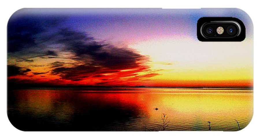 Sunset IPhone X Case featuring the digital art Fire in the Sky by Dawn Johansen