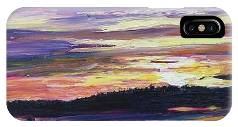 Sunset IPhone X Case featuring the painting Sunset by Richard Nowak
