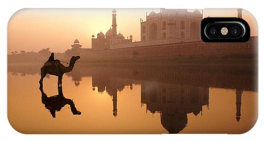Sunrise IPhone X Case featuring the photograph Taj Mahal At Sunrise by Michele Burgess