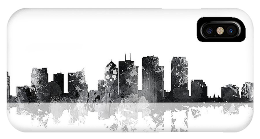 Tampa Florida Skyline IPhone X Case featuring the digital art Tampa Florida Skyline by Marlene Watson