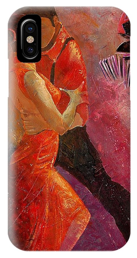Tango IPhone X Case featuring the painting Tango by Pol Ledent