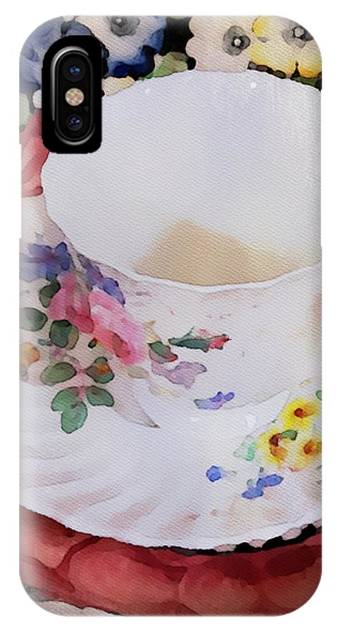 Watercolor IPhone X Case featuring the painting Tea Time by Bonnie Bruno