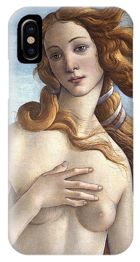 Redhead; Restored Version; Florentine; Renaissance; Quattrocento; Shell; Scallop; Goddess; Beauty; Wind; Nude; Female; Personification; Hour; Cloak IPhone X Case featuring the painting The Birth Of Venus by Sandro Botticelli