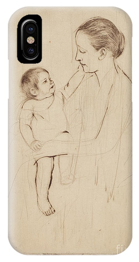 IPhone X Case featuring the drawing The Caress by Mary Cassatt