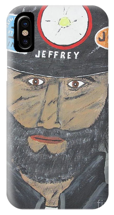 Coal Man IPhone X Case featuring the painting The Coal Man by Jeffrey Koss