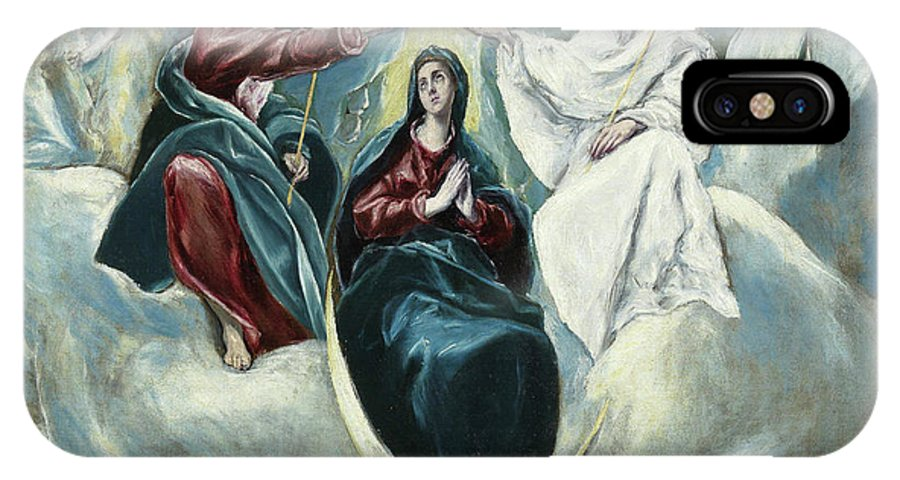 Blessed Virgin Mary IPhone X Case featuring the painting The Coronation Of The Virgin by El Greco