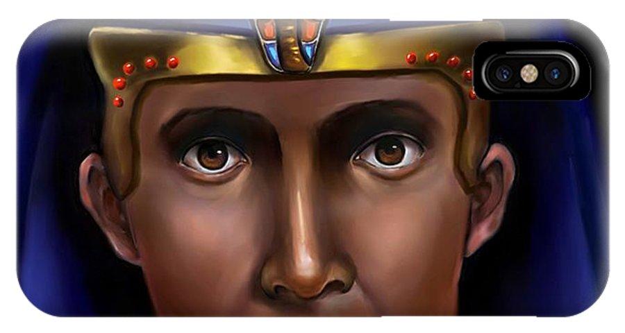 Ancient Egypt IPhone X Case featuring the digital art Egyptian Pharaoh by Carmen Cordova