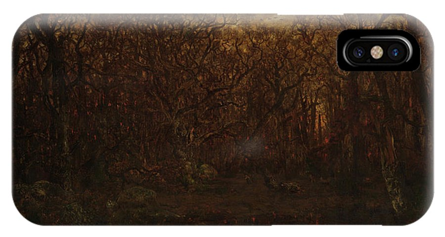 Barbizon School IPhone X Case featuring the painting The Forest In Winter At Sunset by Theodore Rousseau